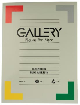 Gallery bloc de dessin 120 g/m², papier sans bois, 24 feuilles, ft 24 x 32 cm