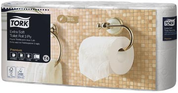 Tork Papier toilette traditionnel 3 plis, blanc, 155 feuilles, pour système T4, paquet de 8 rouleaux