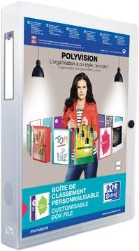 OXFORD Polyvision boîte de classement personnalisable, format A4, en PP, dos de 4 cm, transparent