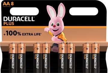 Duracell batterij Plus 100% AA, blister de 8 pièces