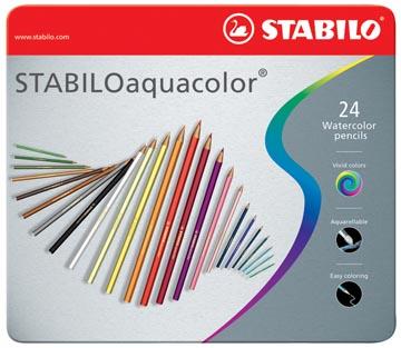 STABILOaquacolor crayon de couleur, boîte métallique de 24 pièces en couleurs assorties
