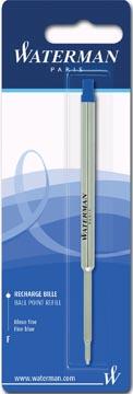 Waterman recharge pour stylo bille, pointe fine, bleu, sous blister