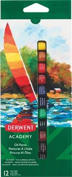 Derwent peinture à l'huile Academy , 12 ml, blister de 12 tubes en couleurs assorties