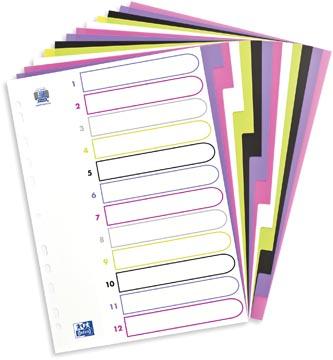 OXFORD MyColour intercalaires, format A4, en PP coloré, 11 trous, 12 onglets