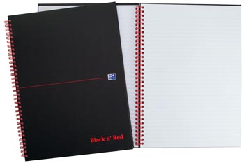 Oxford BLACK N' RED cahier spiralé en carton, 140 pages ft A5, ligné