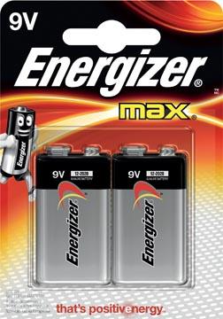 Energizer pile Max, 9V, blister 2 pièces