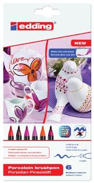 Edding feutre pointe pinceau pour porcelaine e-4200, blister de 6 pièces en couleurs assorties chaudes