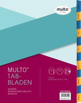 Multo intercalaires, pour ft A4, perforation 23 trous, en carton, 12 onglets, jan-dec, jaune/bleu