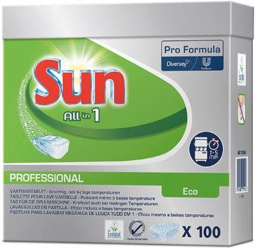 Sun tablettes pour lave-vaisselle All In 1 Eco, paquet de 100 pièces