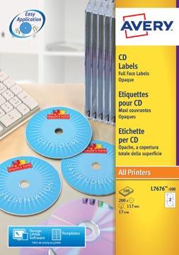 Avery L7676-100 étiquettes pour CD, diamètre 117 mm, 200 étiquettes, blanc