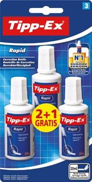 Tipp-Ex correcteur liquide Rapid, blister de 3 pièces (2 + 1 gratuite)