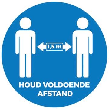 Autocollant, texte: Houd voldoende afstand, forme ronde, diamètre 50 cm (seulement en néerlandais)