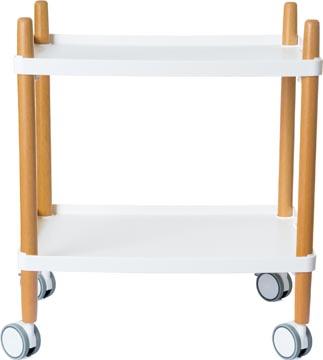 Trolley met 2 legplanken, en bois, blanc