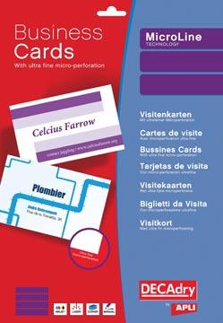 Decadry cartes de visite MicroLine ft 85 x 54 mm, 185 g/m², 500 cartes