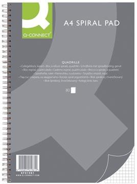 Q-Connect bloc collège, ft A4 , quadrillé 5 mm, 80 feuilles