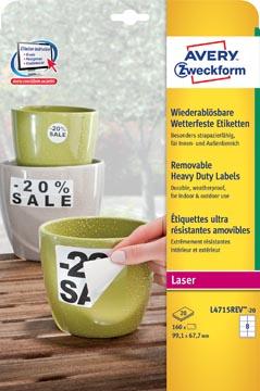 Avery étiquettes enlevables résistantes à l'humidité Ft 99,1 X 67,7 mm (l x h), blanc boîte de 160 pièces